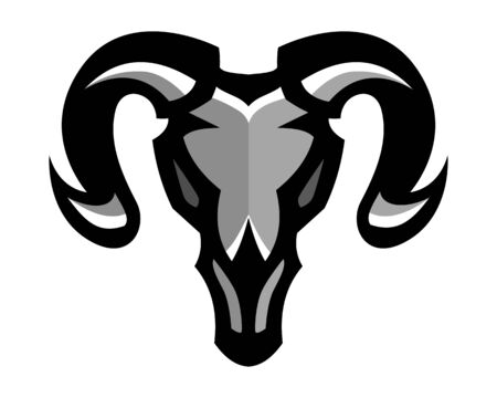 Goat skull, Mascot logo, Sticker design, Vector illustration