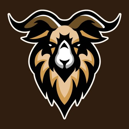 Goat, Mascot logo, Sticker design, Vector illustration.