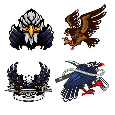 Eagle, Set of mascot, Vector illustration Illustration