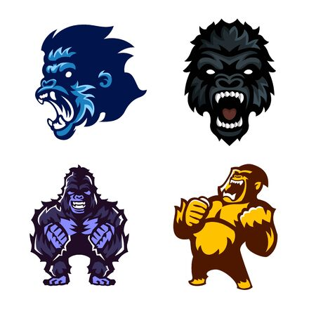 Gorilla, Ape, Monkey, Set of mascot, Vector.