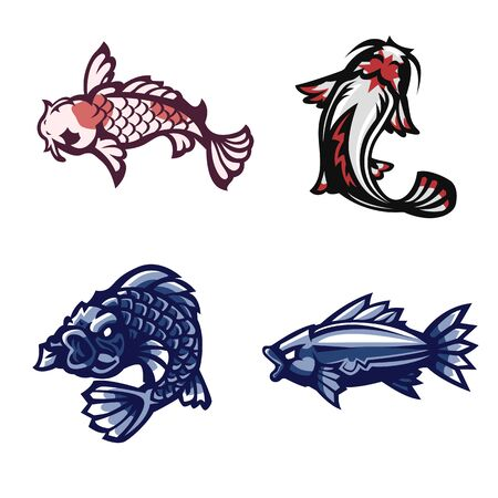 Fish, Koi , Set of mascot, Vector illustration