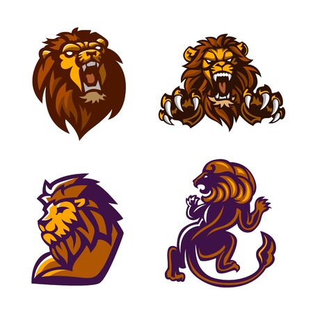 Lion, Mascot set, Vector illustration.