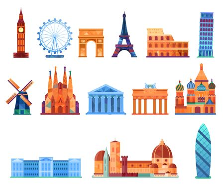 Europe landmark, Vector infographic elements. Archivio Fotografico - 129205157