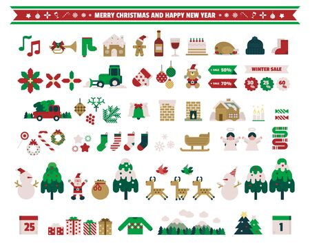 Christmas decoration elements, Vector illustration.