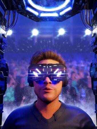 Gamer on virtual reality glasses, 3d rendering Concept art illustration.