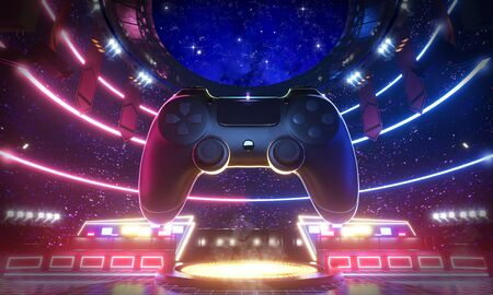 Neon light glow e-sport arena with the big joy pad in middle stadium, 3d rendering background illustration.