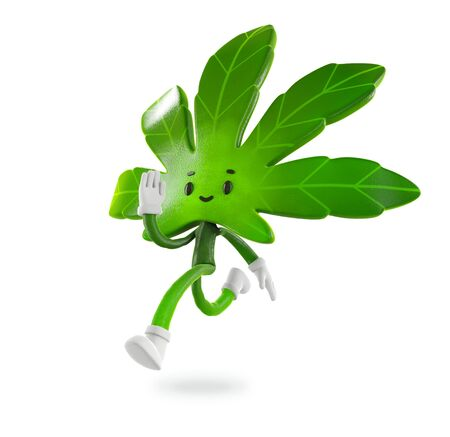 Cannabis  boy run in white background,Character design, 3d rendering illustration.