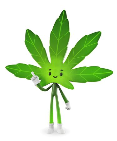 Cannabis  boy in presenting pose, Character design, 3d rendering illustration. 版權商用圖片