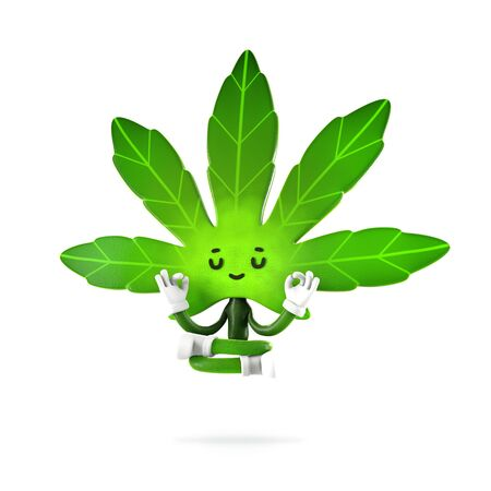 Cannabis  boy  in meditation pose, Character design, 3d rendering illustration. 版權商用圖片