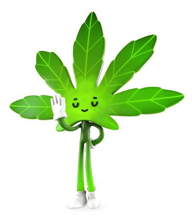 Cannabis  boy  in ban pose , Character design, 3d rendering illustration. Фото со стока