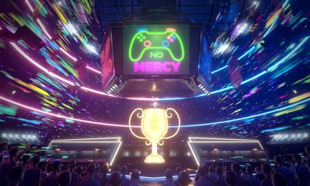 No mercy, E-sport arena in the speed of colorful light , 3d rendering illustration.