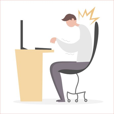 Office syndrome, Flat vector illustration.