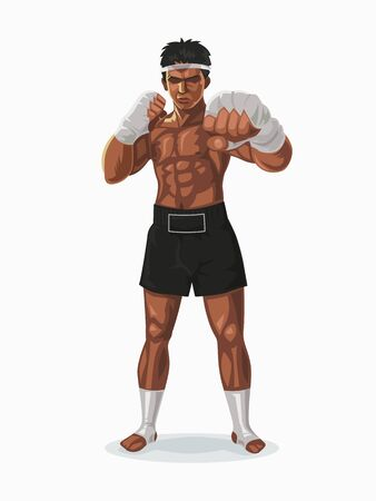 Thailand boxer in the fight pose, Vector illustration.