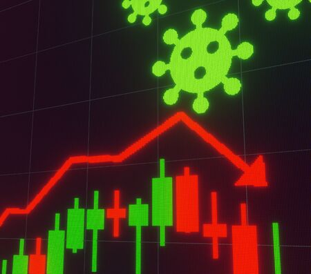 Stock market digital screen, Graph falling and Corona virus, 3d rendering illustration.