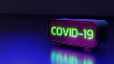 Glow green text, Covid 19  on LED monitor, 3d rendering background illustration. Imagens