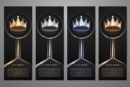 Metalic crown in black banner, Gold, Platinum, Silver, Bronze, Vector illustration.