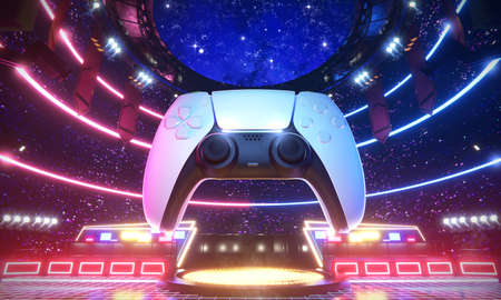 E-sport arena and Game joypad in Glow scenery, 3d rendering illustration.