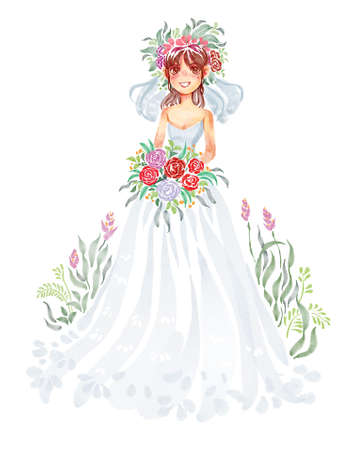 Bride and bouquet, Watercolor character illustration. 版權商用圖片