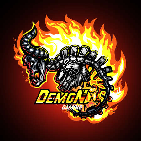 Demon skeleton on fire, Mascot logo vector illustration.