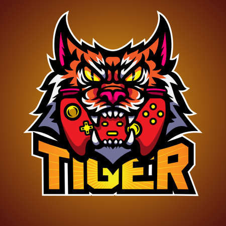The tiger bite a game pad, Mascot logo vector illustration.
