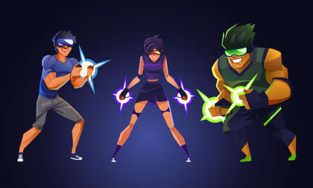 Virtual reality gamer, Vector illustration.