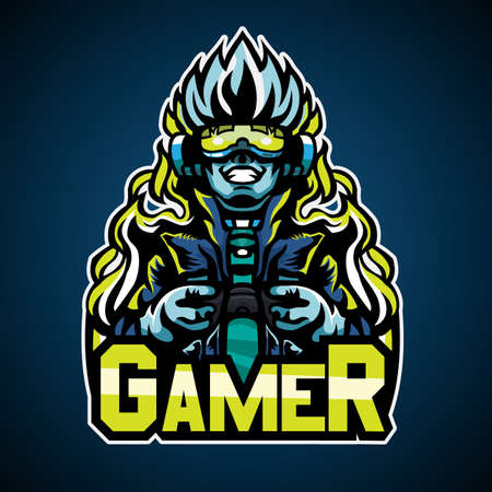 Gamer cyberpunk style, Mascot logo, Vector illustration.