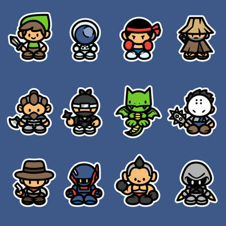 Set of game characters, Vector illustration