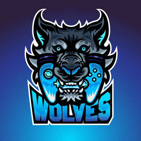 The wolf bite joypad, Mascot logo, Vector illustraion.