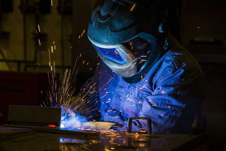 erecting: welder, craftsman, erecting technical steel spark trained fabricate Stock Photo