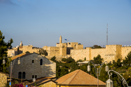 Old City of Jerusalem on the part of the mill. Stock Photo