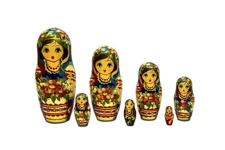 Matrioshka or babushkas dolls on a white background Ukrainian