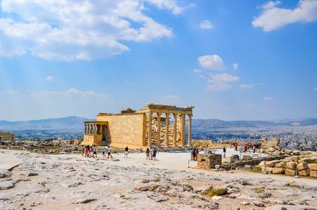 colonnade: Parthenon temple in Acropolis at Athens, Greece - travel background Greece Athens Acropolis