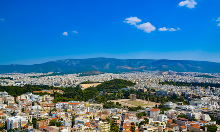 Temple of the Olympian Zeus at Athens, Greece - view from Acropolis Greece Temple of Zeus