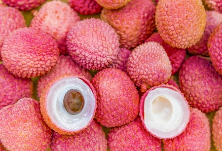 Lychee fruit, lychee or Chinese or Chinese plum. Lychees tropical