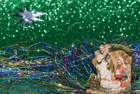estrella de belen: Escena de la Natividad Jesucristo, María y Josef Navidad bebé Jesús Foto de archivo