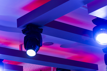bar ceiling discoEmpty Night Club Lit by Colored Spotlights
