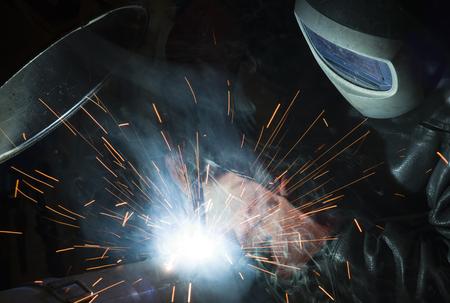 welder, craftsman, erecting technical steel Industrial steel welder in factory technical,