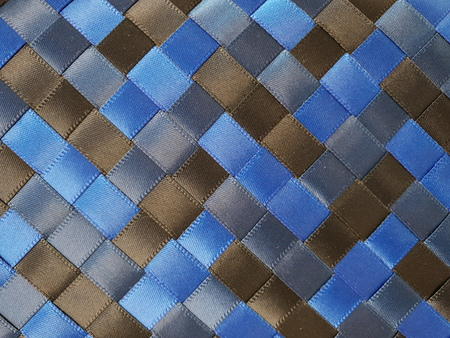 cubed satin ribbons of blue brown blue weaving ribbons