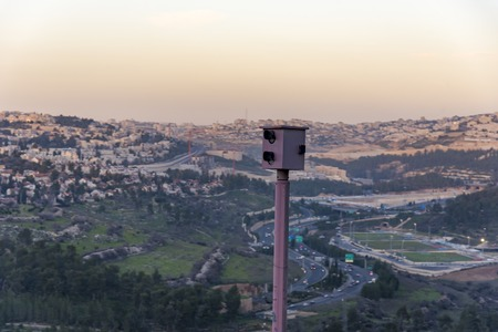 Road safety red light traffic camera Road Camera on the red light in Israel.