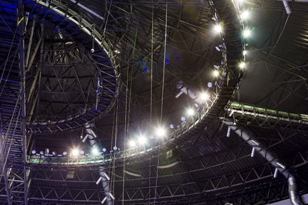 Lighting at hall ceiling. ceiling of an indoor stadium construction