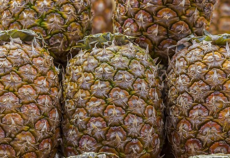 Hawaiian pineapples background nature, texture object Banco de Imagens
