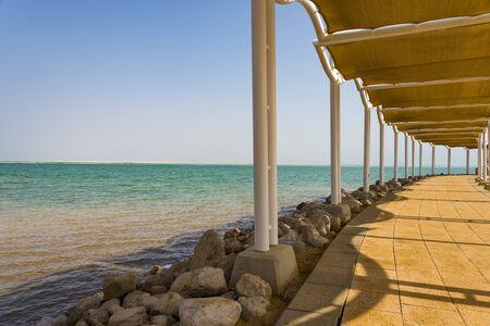 Path to the sea under a canopy of the Dead Sea.