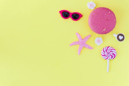 beach accessories On a yellow background. board travel vacation resort