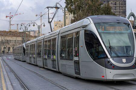 Jerusalem is the most visited city by tourists in Israel Jerusalem tram Banque d'images