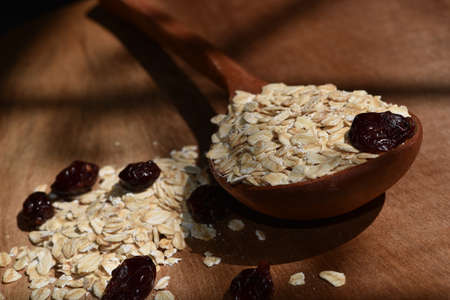 Healthy eating collection, oatmeal with dried cranberries. organic oatmeal
