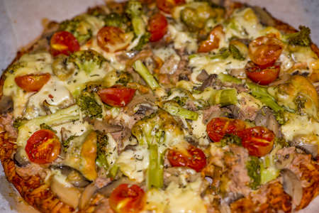 Special pizza with green bell pepper, olives, onion, mushrooms, chicken and pepperoni - isolated Collection of dozens of various pizza