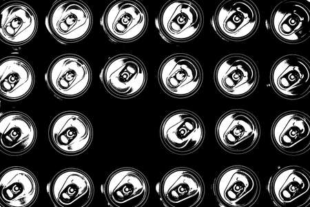 opened canned beer and many unopened Tin beer cans top view