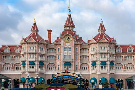 Paris, France - 18/12/2017 Disneyland Resort Paris Hotel. Disney Park Paris France.