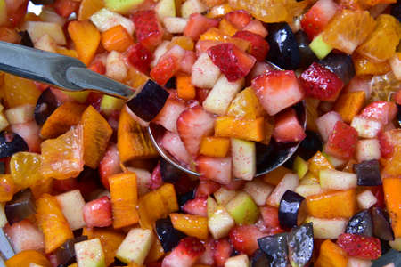 Fresh Fruit Salad background, fruit salad in bright and colored