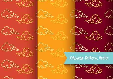cloud chinese pattern set vector